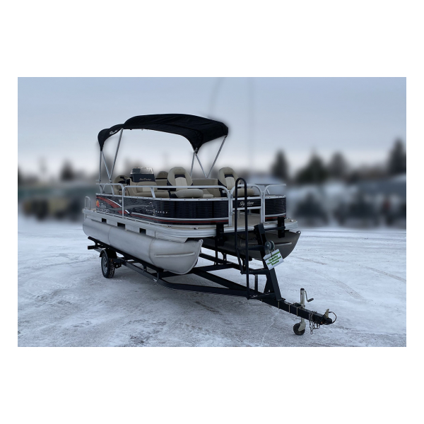2013 SunTracker BassBuggy 18 DLX Pre-owned Boat Exclusive Auto Marine pontoon boat fishing boat