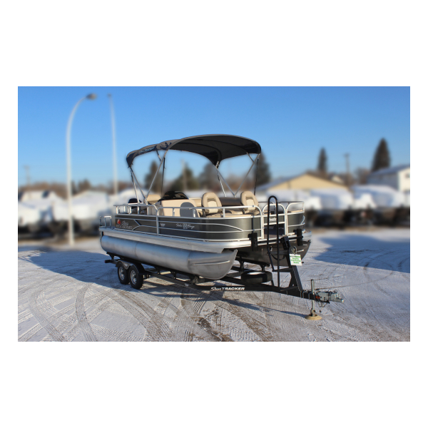 2016 SunTracker Fishin' Barge22 DLX Pre-owned Boat Exclusive Auto Marine pontoon boats fishing boats